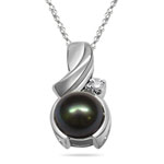 0.01 Cts Diamond & Pearl Pendant in 14K White Gold