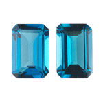 3.72-3.98 Cts of AAA 8x6 mm Emerald Matching Loose London Blue Topaz ( 2 pcs set ) Gemstones