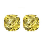 0.85 Cts of 5 mm AA Cushion Checker Board Loose Yellow Beryl ( 2 pcs ) Gemstones