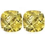 3.40 Cts of 8 mm AA Cushion Checker Board Loose Yellow Beryl ( 2 pcs ) Gemstones