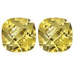 1.65 Cts of 6 mm AA Cushion Checker Board Loose Yellow Beryl ( 2 pcs ) Gemstones