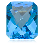 4.36-5.56 Cts of 11x9 mm AAA Emerald Checkered Cut Loose Swiss Blue Topaz ( 1 pc ) Gemstone