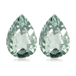 7.80-8.68 Cts of 14x9 mm AA Pear Green Amethyst Matched Pair ( 2 pcs ) Loose Gemstones