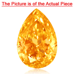 GIA Certified Natural Fancy Vivid Orange Yellow (1pc) Diamond - 0.54 Cts - I2 Clarity Pear Modified Brilliant