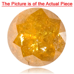 1.38-1.40 Cts of 6.4x6.4 mm I3 quality Round Natural Brownish Golden Yellow Diamond ( 1 pc ) Loose Diamond