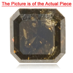 0.90 Cts of 5.3x5.3 mm I3 quality Cut-Corner Modified Square Brilliant Natural Dark Brown Diamond ( 1 pc ) Loose Diamond