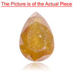 0.91 Cts of 7.8x5.3 mm Pear I1-2 Natural Orange ( 1 pc ) Loose Diamond
