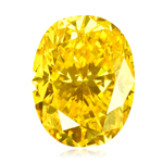 GIA Certified Natural Fancy Intense Yellow (1pc) Diamond - 0.18 Cts - I2 Clarity Oval Brilliant