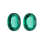 2.33-2.70 Cts of 8x6 mm AAA Oval Russian Lab Created Emerald ( 2 pcs ) Loose Gemstones