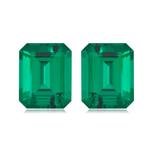 0.86-1.07 Cts of 6x4 mm AAA Emerald-Cut Russian Lab Created Emerald ( 2 pcs ) Loose Gemstones