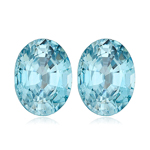 3.65-4.26 Cts of 8x6 mm AAA Oval Natural Blue Zircon ( 2 pcs ) Loose Gemstone