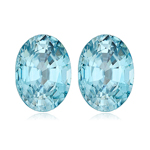 3.52-4.57 Cts of 8.5 x 6.5 mm AAA Oval Natural Blue Zircon ( 2 pcs ) Loose Gemstone