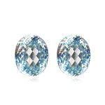 3.65-4.30 Cts of 8x6 mm  AAA Oval Checkered Natural Blue Zircon ( 2 pcs ) Loose Gemstone
