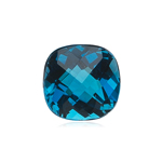 1.53-1.96 Cts of 7 mm AAA Cushion Checkered London Blue Topaz (1 pc ) Loose Gemstone