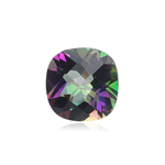 0.99-1.35 Cts of 6 mm A+ Slightly off colored Cushion Checkered Mystic Green Topaz ( 1 pc ) Loose Gemstone