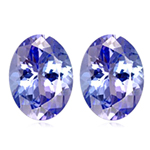 0.63-0.85 Cts of 5x4 mm AA- Oval Tanzanite ( 2 pcs ) Loose Gemstones