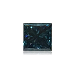 0.21 Cts of 3.2x3.2x2.5 mm SI2 Princess Cut Teal Blue Diamond ( 1 pc ) Loose Color Diamond