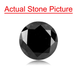 1.36 Cts of 7.0x4.25 mm Round Cut ( 1 pc ) Fancy Loose Black Diamond