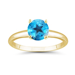 4.70-5.40 Cts of 10 mm AAA Texas Star Cut Swiss Blue Topaz Ring in 14K Yellow Gold