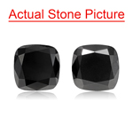 4.14 Cts AAA Cushion Cut ( 2 pcs ) Loose Treated Fancy Black Diamonds