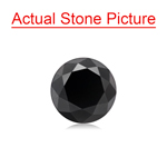 1.49 Cts of 6.50x6.50x5.00 mm GIA Certified AAA Round Brilliant ( 1 pc ) Loose Black Diamond