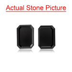 2.16 Cts AAA Emerald Cut Fancy Black ( 2 pcs ) Loose Black Diamonds