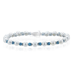 2.08 Cts Aquamarine & Akoya Cultured Pearl Bracelet in 14K White Gold