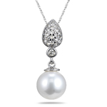 0.50 Cts Diamond & 10 mm Akoya Cultured Pearl Pendant in 14K White Gold