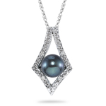 0.02 Ct Diamond & Black Pearl Pendant in 14K White Gold