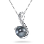 0.01 Ct Diamond & Black Pearl Pendant in 14K White Gold