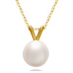 8.0 mm Fresh Water Pearl Pendant in 14K Yellow Gold