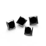 1.00 Ct of 3.10 mm AA Princess ( 4 pcs ) Loose Fancy Black Diamonds