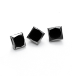 0.99 Cts of 3.50 mm AA Princess ( 3 pcs ) Loose Fancy Black Diamonds