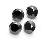 1.00 Ct of 3.85 mm AA Round ( 4 pcs ) Loose Fancy Black Diamonds