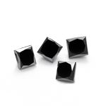 1.00 Ct of 3.10 mm AAA Princess ( 4 pcs ) Loose Fancy Black Diamonds