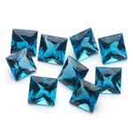 6 mm-10.73 Cts Loose London Blue Topazes Princess-AA
