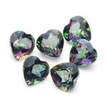 6.27 Cts of 6 mm AA Heart Mystic Green Topaz 6 pcs Loose Gemstones