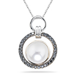 1/4 Ct Black Diamond & Pearl Circle Pendant in 14K Two Tone Gold