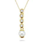 0.06 Cts Diamond & 6.5 mm Pearl Pendant in 14K Yellow Gold