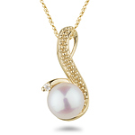 0.015 Ct Diamond & Pearl Pendant in 14K Yellow Gold.