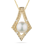 0.02 Cts Diamond & 7 mm Cultured Pearl Pendant in 14K Yellow Gold
