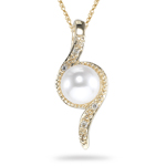0.02 Cts Diamond & 6.5 mm Cultured Pearl Pendant in 14K Yellow Gold