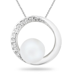 0.06 Ct Diamond & Pearl Pendant in 14K White Gold