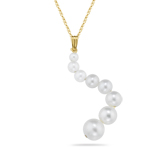 Cultured Pearl Journey Pendant in 14K Yellow Gold