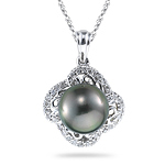 0.18 Ct Diamond & Tahitian Black Pearl Pendant in 14K White Gold