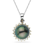 0.28 Ct Diamond & 6.25 Ct Tahitian Pearl Pendant in 18K Two Tone Gold