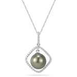 0.23 Cts Diamond & Tahitian Pearl Pendant in 18K White Gold