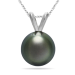 Gift For Her - 8.5-8.9 mm Tahitian Cultured Pearl Pendant in 18K White Gold