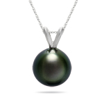 Gift For Her - 9.5-9.9 mm Tahitian Cultured Pearl White Gold Pendant