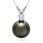 Gift For Her - 8.5-8.9 mm Tahitian Pearl White Gold Diamond Pendant